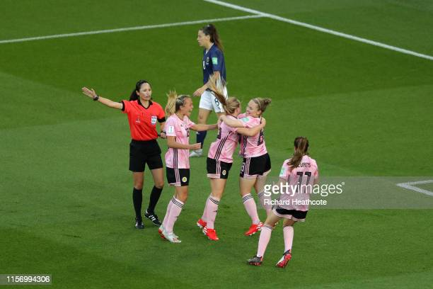 Kim Little of Scotland celebrates with teammates after scoring her team's first goal during the 2019 FIFA Women's World Cup France group D match...