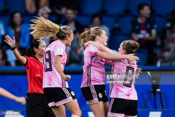 Kim Little of Scotland celebrating her goal with her teammates during the 2019 FIFA Women's World Cup France group D match between Scotland and...