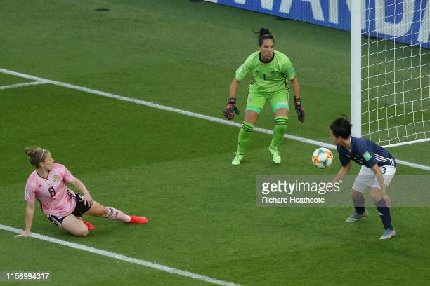 Kim Little of Scotland scores her team's first goal during the 2019 FIFA Women's World Cup France group D match between Scotland and Argentina at...