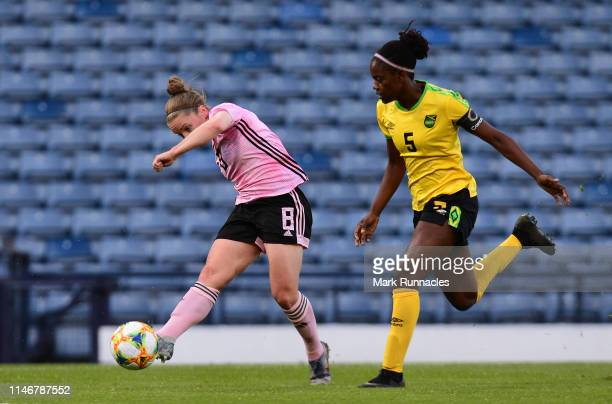 Kim Little of Scotland shoots on target and scores during the Women's International Friendly between Scotland and Jamaica at Hampden Park on May 28...