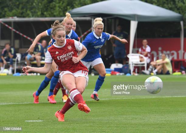 Kim Little scores a goal for Arsenal from the penalty spot during a pre season friendly between Arsenal Women and Brighton and Hove Albion Women at...