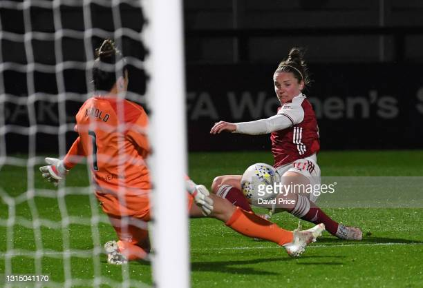 Kim Little scores Arsenal's 2nd goal during the Barclays FA Women's Super League match between Arsenal Women and West Ham United Women at Meadow Park...
