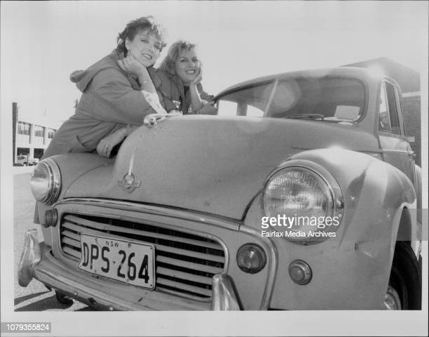 Kim Mathers aged 24 and Jane Wherrett aged 22 pictured with the Morris Minor they plan on using to win the Bourke to Barossa rally A 3000 km race...