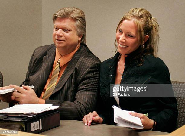 Kim Mathers appears in Macomb County Circuit Court with her attorney Michael Smith March 26 2007 in Mt Clemens Michigan Mathers' exhusband Marshall...