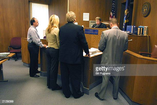 Kim Mathers Eminem's exwife appears before Judge Joseph Oster in St Clair Shores District Court July 1 2003 in St Clair Shores Michigan Mathers was...