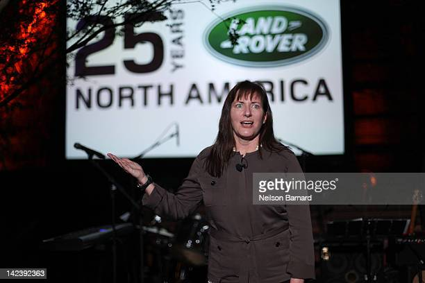 Kim McCullough Brand Vice President Land Rover North America LLC was on hand at the 25th Anniversary event for Land Rover in the US on April 3 2012...