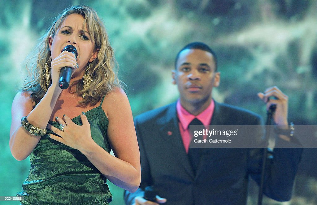 Kim Medcalf and Reggie Yates are seen performing at the ninth eviction show for 'Comic Relief Does Fame Academy' at Lambeth College on March 9, 2005 in London. The new series sees 13 celebrities go head to head in the ultimate celebrity singing competition, with the grand final announcing the winner on March 11, Red Nose Day 2005.