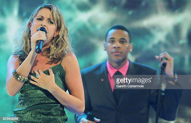 Kim Medcalf and Reggie Yates are seen performing at the ninth eviction show for 'Comic Relief Does Fame Academy' at Lambeth College on March 9 2005...