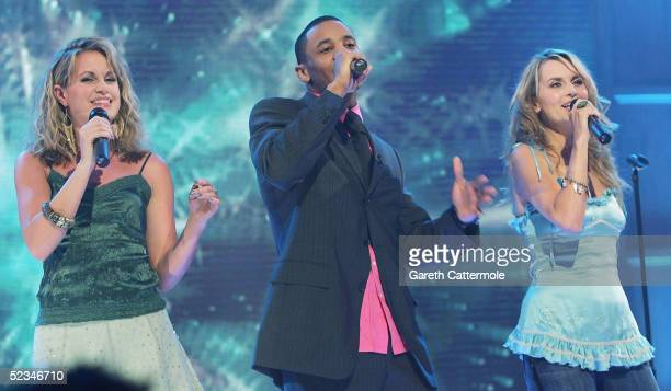 Kim Medcalf Reggie Yates and Debra Stephenson are seen performing at the ninth eviction show for 'Comic Relief Does Fame Academy' at Lambeth College...
