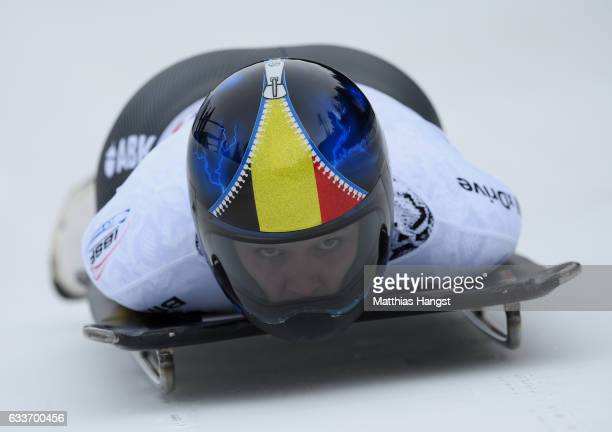 Kim Meylemans of Belgium competes during the Women's Skeleton first run of the BMW IBSF World Cup at Olympiabobbahn Igls on February 3 2017 in...