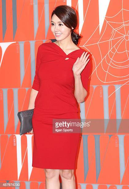 Kim MinAh poses for photographs during the W Korea campaign Love Your W party at Fradia on October 23 2014 in Seoul South Korea