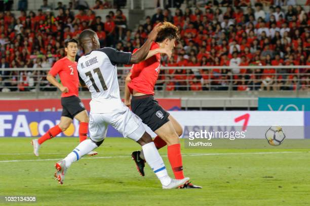 Kim Minjae of South Korea and Mayron George of Costa Rica action on the field during an Football A Match South Korea and Costa Rica at Goyang Sports...