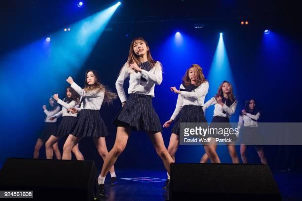 Kim Minji Kim Bora Lee Siyeon Kim Yoohyeon Lee Yoobin Lee Gahyeon Handong from Dreamcatcher perform at Le Trianon on February 25 2018 in Paris France