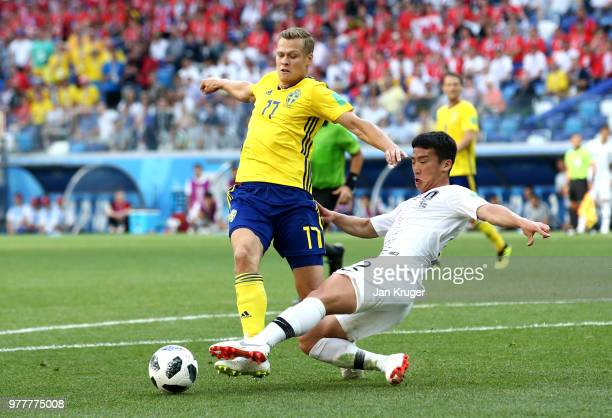 Kim MinWoo of Korea Republic fouls Viktor Claesson of Sweden inside the box leading to a VAR decision penalty during the 2018 FIFA World Cup Russia...