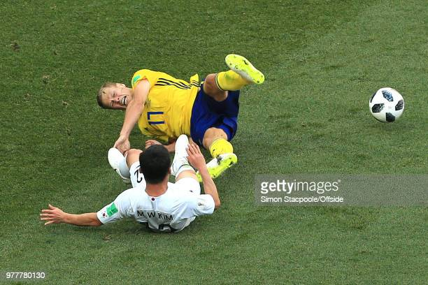 Kim MinWoo of South Korea fouls Viktor Claesson of Sweden and gives away a penalty during the 2018 FIFA World Cup Russia group F match between Sweden...