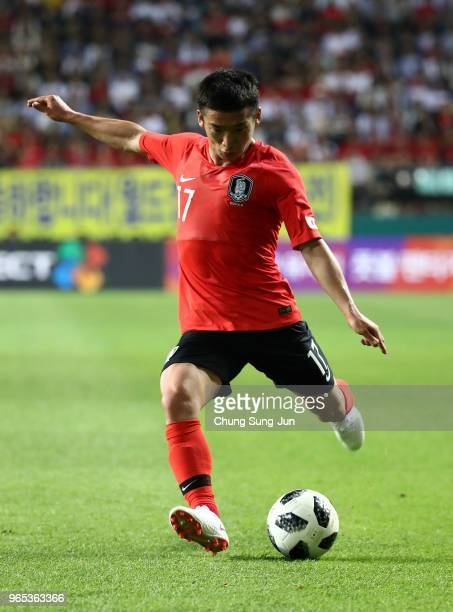 Kim Minwoo of South Korea in action during the international friendly match between South Korea and Bosnia Herzegovina at Jeonju World Cup Stadium on...