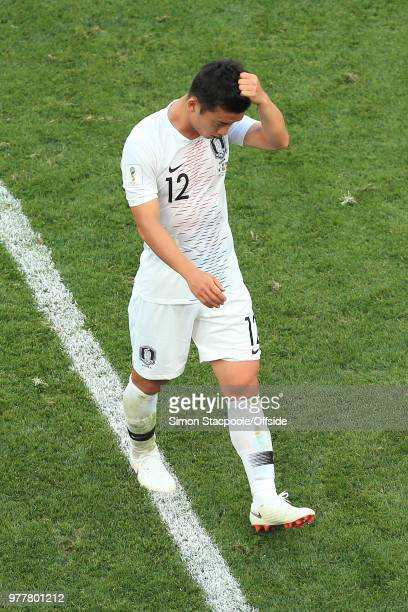 Kim Min-Woo of South Korea looks dejected after his foul gave away the winning penalty during the 2018 FIFA World Cup Russia group F match between...