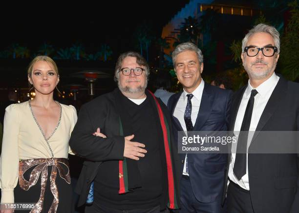 Kim Morgan Guillermo del Toro wearing Gucci LACMA CEO and Wallis Annenberg Director Michael Govan wearing Gucci and Alfonso Cuarón wearing Gucci...