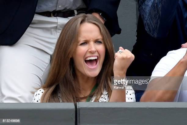 Kim Murray attends day nine of the Wimbledon Tennis Championships at the All England Lawn Tennis and Croquet Club on July 12 2017 in London United...