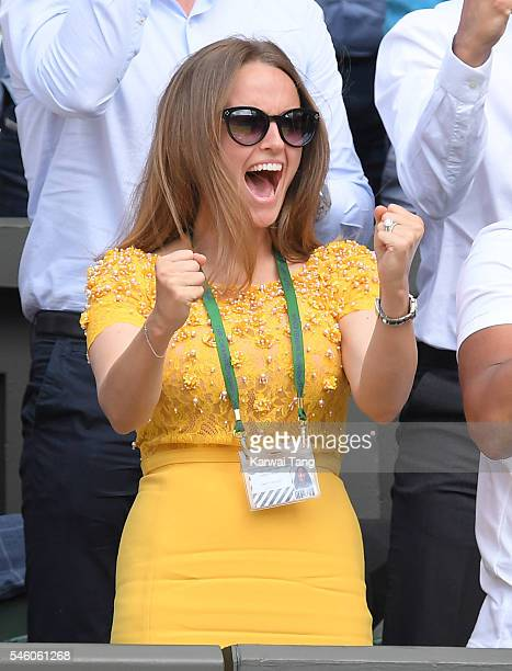 Kim Murray attends the Men's Final of the Wimbledon Tennis Championships between Milos Raonic and Andy Murray at Wimbledon on July 10 2016 in London...