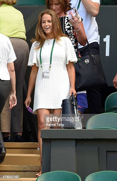 Kim Murray attends the Mikhail Kukushkin v Andy Murray match on day two of the Wimbledon Tennis Championships at Wimbledon on June 30 2015 in London...