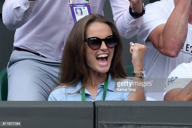 Kim Murray cheers on Andy Murray as she attends day seven of the Wimbledon Tennis Championships at the All England Lawn Tennis and Croquet Club on...