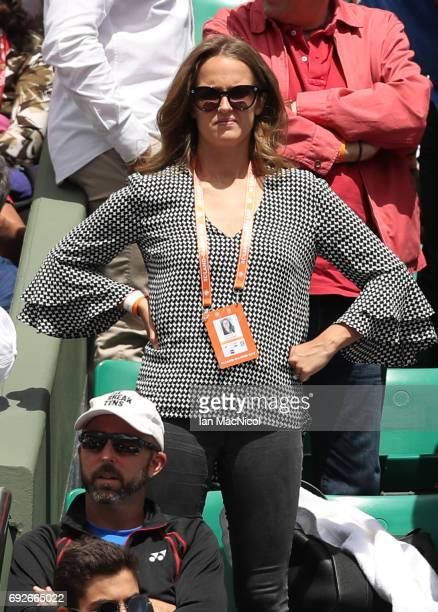 Kim Murray the wife of Andy Murray of Great Britain looks on during his match with Karen Khachanov of Russia on Day Nine at Roland Garros on June 5...
