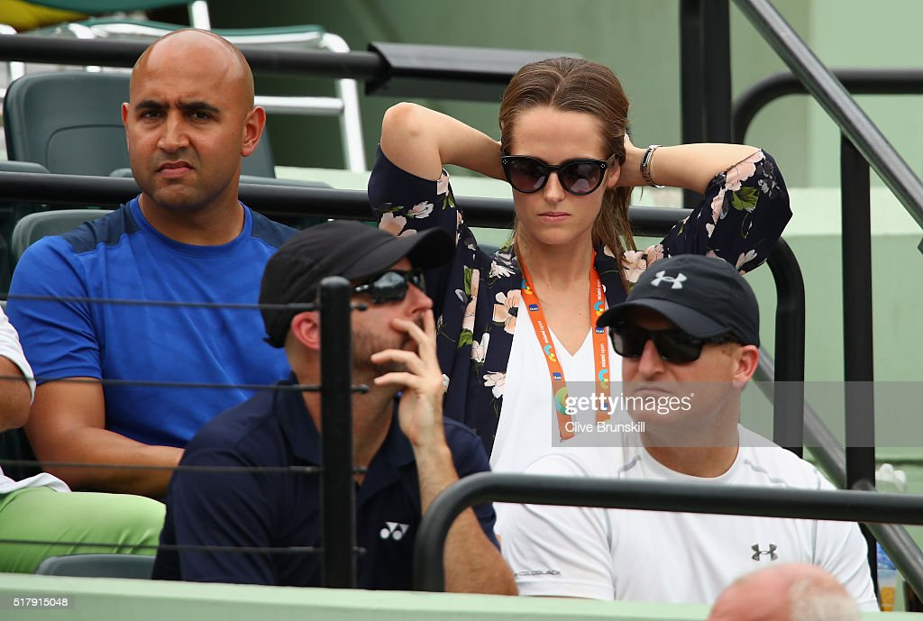 Kim Murray watches her husband Andy Murray of Great Britain as he plays against Grigor Dimitrov of Bulgaria in their third round match during the Miami Open Presented by Itau at Crandon Park Tennis Center on March 28, 2016 in Key Biscayne, Florida.
