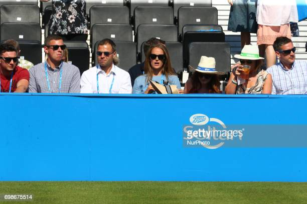 Kim Murray watching her Husband Andy Murray GBR during Round One match on the second day of the ATP Aegon Championships at the Queen's Club in west...