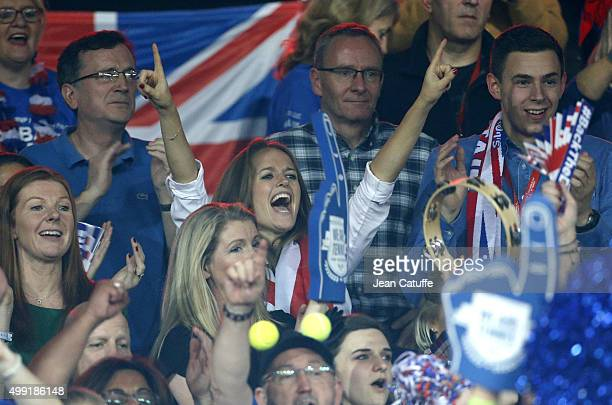 Kim Murray, wife of Andy Murray celebrates the victory of Great Britain after Andy won over David Goffin of Belgium during day three of the Davis Cup...