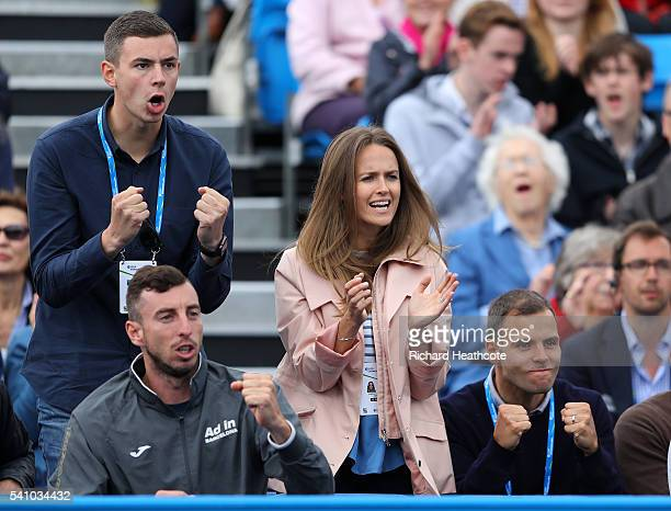 Kim Murray wife of Andy Murray of Great Britain reacts to a point during Murray's semi final match against Maric Cilic of Croatia on day six of the...