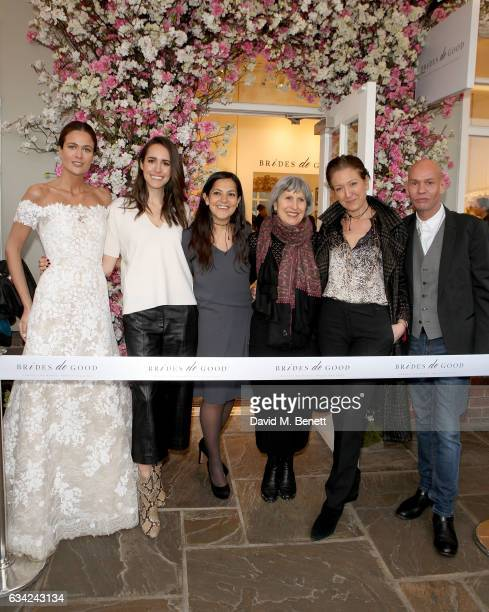 Kim Nayar Louise Roe Chantal Khoueiry Caroline Burstein Caterina Occhio and Ian Stuart attend the Brides do Good first popup boutique launch which...