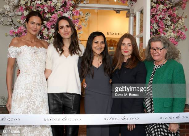 Kim Nayar Louise Roe Chantal Khoueiry Christina Paiaia and Tanya Barron OBE attend the Brides do Good first popup boutique launch which runs from...