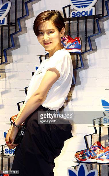 Kim Na-Young poses for photographs during the Adidas Originals flagship store opening event on July 31, 2014 in Seoul, South Korea.