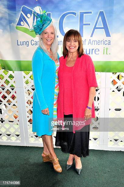 Kim Norris and Valerie Harper attend the Lung Cancer Foundation of America's 'Day At The Races' at Del Mar Race Track on July 28 2013 in Del Mar...