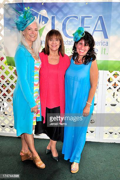 Kim Norris Valerie Harper and Beth Stern attend Lung Cancer Foundation of America's 'Day At The Races' at Del Mar Race Track on July 28 2013 in Del...