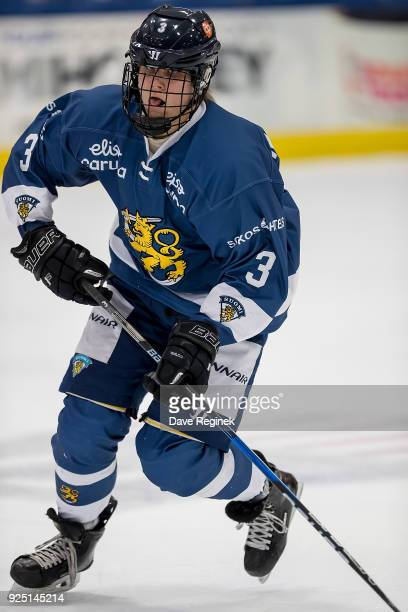 Kim Nousiainen of the Finland Nationals skates up ice against the Russian Nationals during the 2018 Under18 Five Nations Tournament game at USA...