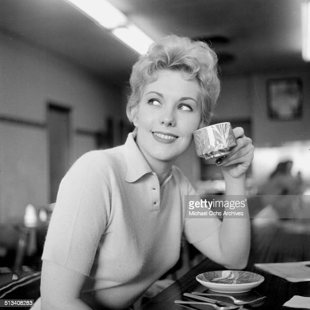 Kim Novak poses for a portrait in a coffee shop in Los Angeles,CA.