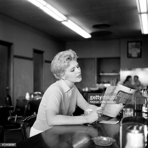 Kim Novak poses for a portrait in a coffee shop in Los AngelesCA