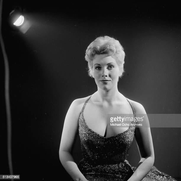 Kim Novak poses for a portrait on stage in Los AngelesCA