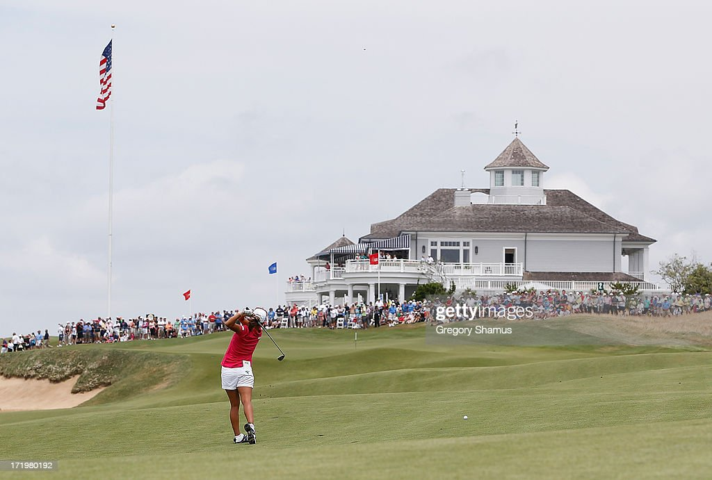 I.K. Kim of South Korea hits from the second fairway during the third round of the 2013 U.S. Women's Open at Sebonack Golf Club on June 29, 2013 in Southampton, New York.