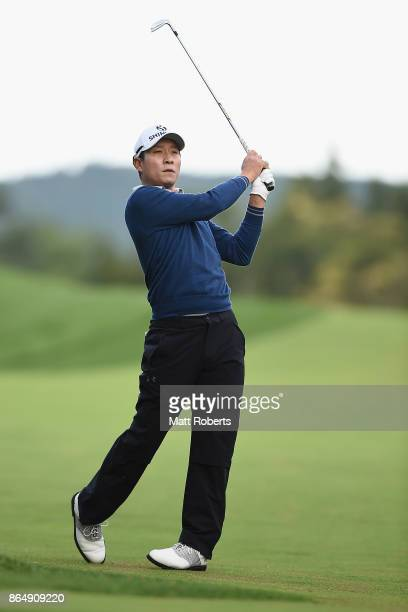 T Kim of South Korea plays his approach shot on the 3rd hole during the final round of the CJ Cup at Nine Bridges on October 22 2017 in Jeju South...