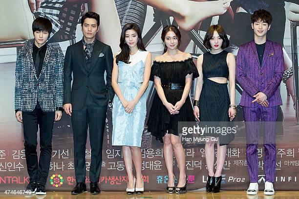 L Kim of South Korean boy band Infinite actors Joo SangWook Kim GyuRi Rhee MinJung Hwang BoRa and Seo KangJun attend the press conference for MBC...