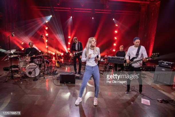 Kim Ofstad Bernt Rune Stray Mirjam Omdal Bård Kristian Kyland and Jonny Sjo from D'Sound perform on stage at a streaming concert at Sentralen during...