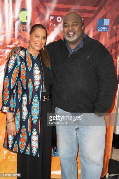 Kim Ogletree and Gil Robertson attend the Greenlight Women For Black History Month Brunch Celebration at The London on February 17 2019 in West...
