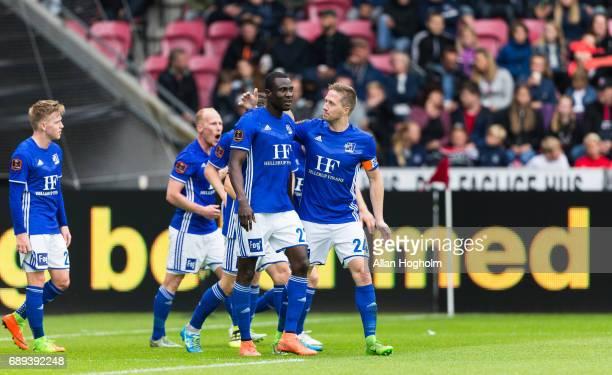 Kim Ojo of Lyngby Boldklub and Thomas Sorensen of Lyngby Boldklub celebrates after scoring their second goal during the Danish Alka Superliga match...