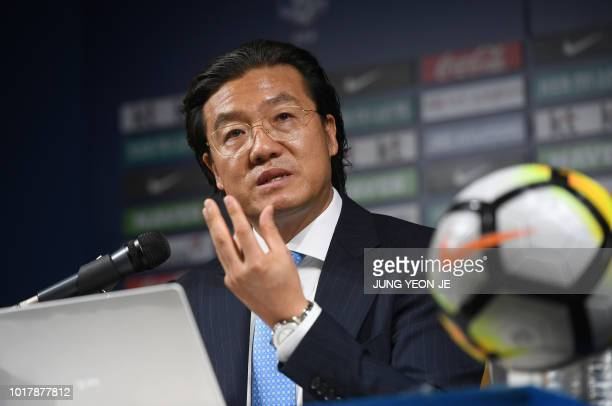 Kim Pangon a top official of the Korea Football Association in charge of finding a new coach to replace Shin Taeyong speaks during a press conference...