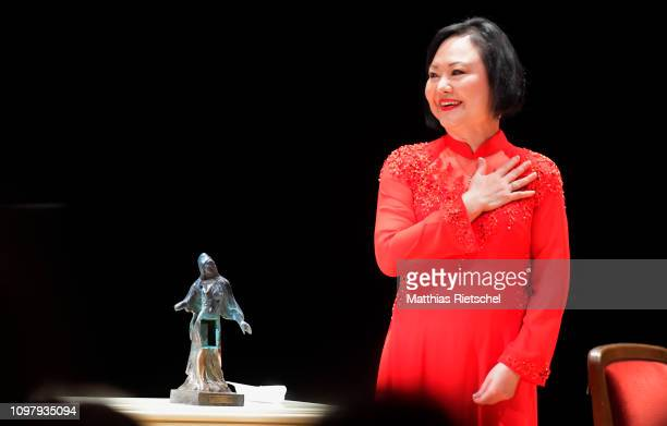Kim Phuk Phan Thi known as the napalm girl receives the 10th International Dresden Peace Prize in the Semper Opera building on February 11 in Dresden...