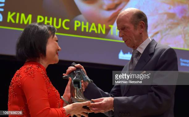 Kim Phuk Phan Thi known as the napalm girl receives the 10th International Dresden Peace Prize handed over by Prince Edward Duke of Kent in the...