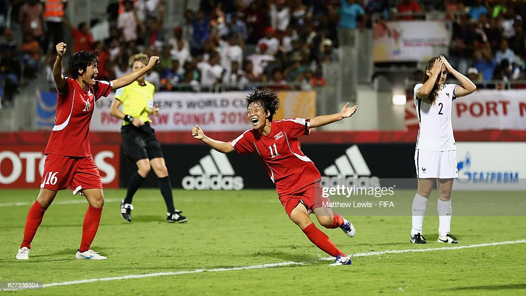 Kim Phyong Hwa of Korea DPR celebrates her goal during the FIFA U-20 Women's World Cup Papua New Guinea 2016 Final between Korea DPR and France at the National Football Stadiuml on December 3, 2016 in Port Moresby, Papua New Guinea.